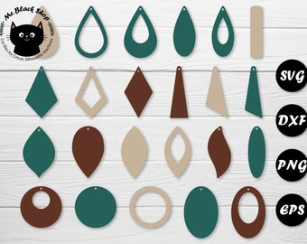 Earring svg bundle Leather earring svg Acrylic wood earring cut file Stacked earring svg Geometric earrings Commercial use Instant download
