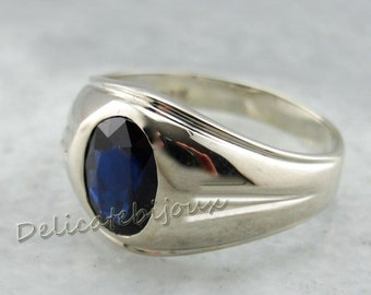 Vintage Engagement Sapphire Ring  Flower Sapphire Ring Anniversary Gift For Her September Birthstone 925 Sterling Silver SKU-GDIS21-25