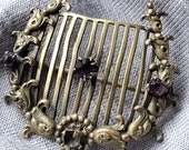 Vintage Gold Tone Harp Style Brooch Pin, Gold Tone Brooch Pin