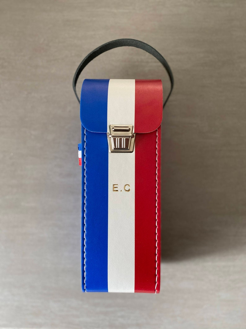 Personalised red white blue petanque bag in faux leather and image 0
