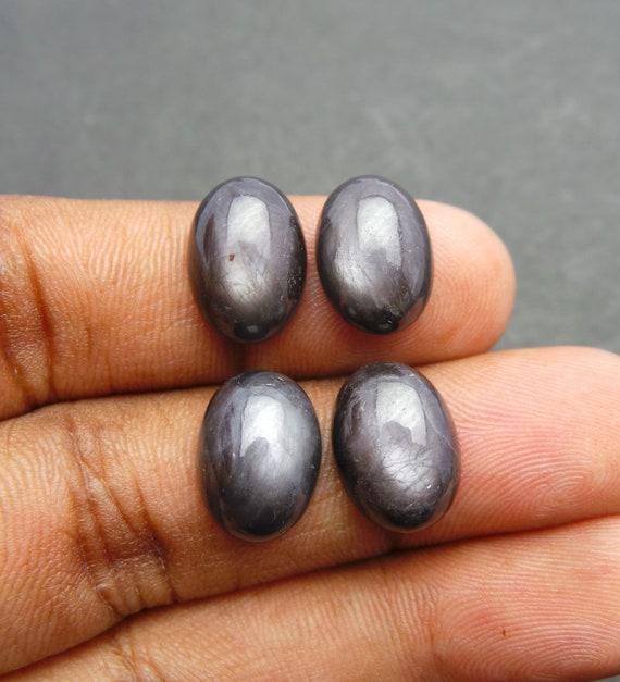 Silver Sapphire Gemstone Cabochons-Silver Cabochons-Natural Silver Sapphire Smooth Oval Shape Cabochons-14x10 MM-4 Pcs-Wholesalegems-BS11489