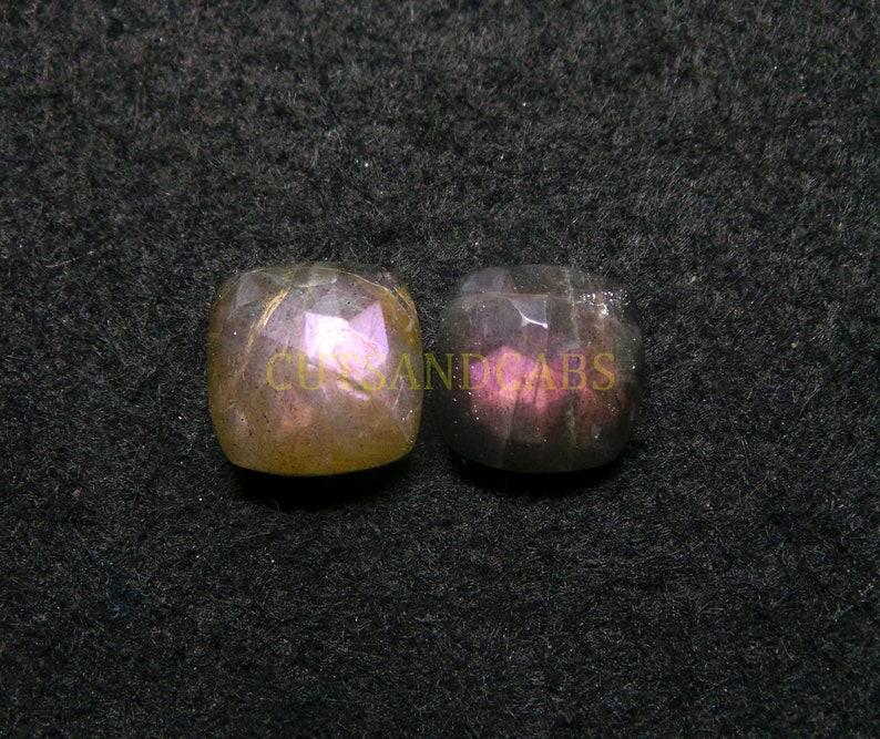 NEW ARRIVAL Purple Labradorite Cabochon-Natural Purple Labradorite Rose Cut Cushion Cabochon Gems Supply-14 mm-1 Pcs-Wholesalegems-PLRC-22