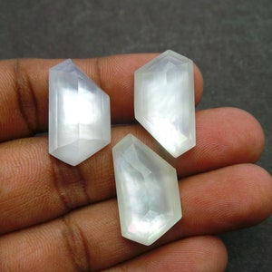 Mother Of Pearl Rock Crystal Doublet Cabochon-Pearl Rock Crystal Doublet-Natural Pearl Crystal Faceted Round Cabochon-12 MM-3 Pcs-BS12453