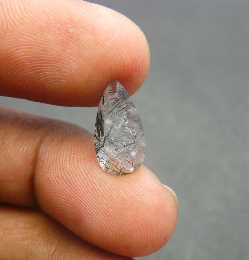 Black Rutilated Quartz Cut Stones-Rutilated Quartz Cut Stone-Natural Black Rutilated Quartz Faceted Cut Pear Shape Gemstone-15x8x4 MM-BS8660