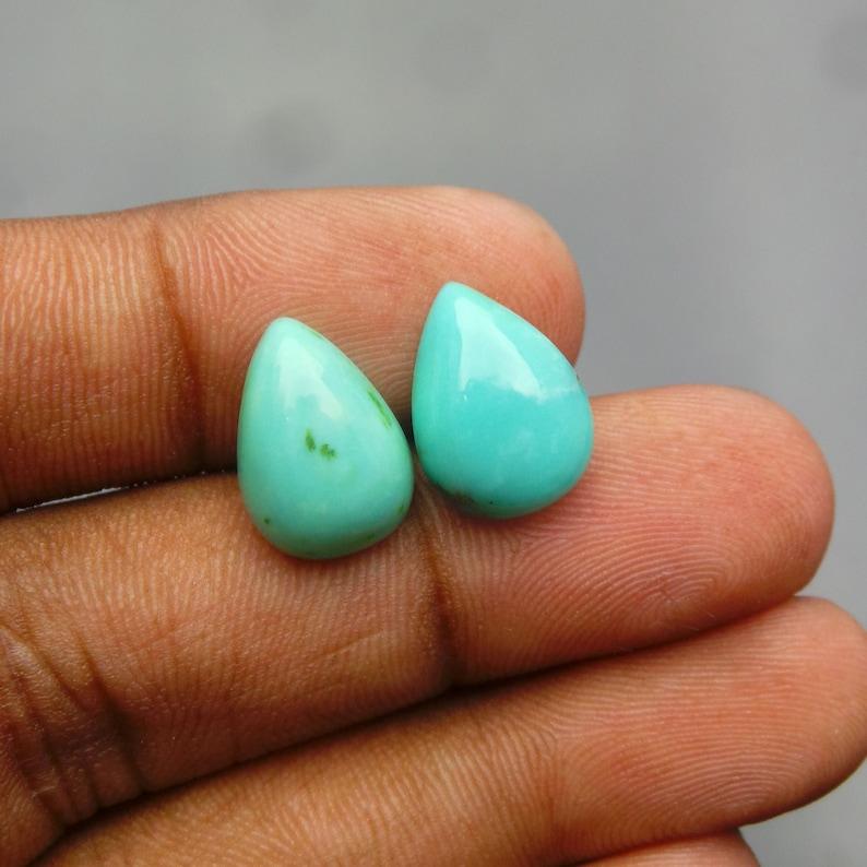 Arizona Turquoise Gemstone Cabochon-Turquoise Cabochon-Natural Arizona Turquoise Smooth Pear Cabochon-14x10 MM-2 Pcs-Wholesalegems-BS15310