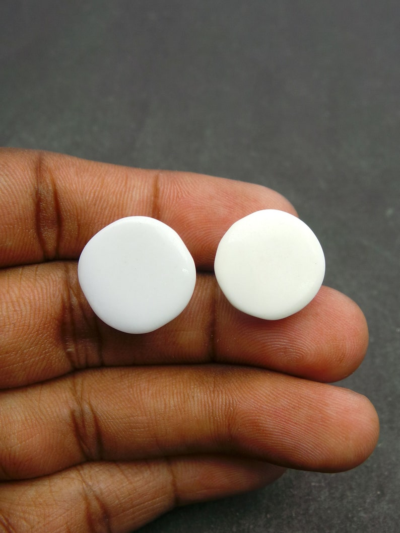 White Opal Gemstone Cabochon-White Opal Cabochon-Natural White Opal Faceted Rose Cut Round Cabochon-16.5-17.5MM-2 Pcs-Wholesalegems-BSW20801