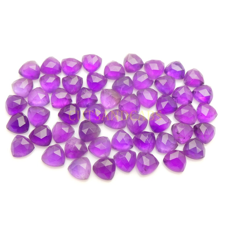 NEW ARRIVAL Amethyst Cabochon-Natural Amethyst Faceted Rose Cut Trillion Cabochon Gems Supply-8 MM-8 Pcs-High Quality-Wholesalegems-AMRC50