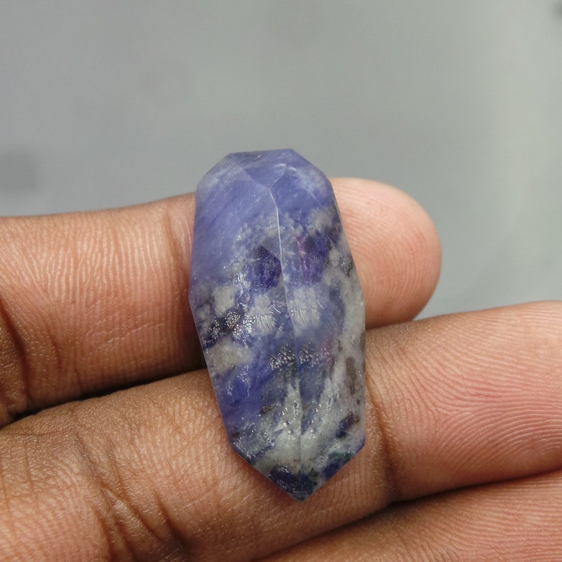 Sodalite Rock Crystal Doublet Cabochon-Sodalite Rock Crystal Doublet-Natural Sodalite Rock Crystal Faceted Fancy Cabochon-31x15x9 MM-BS16893