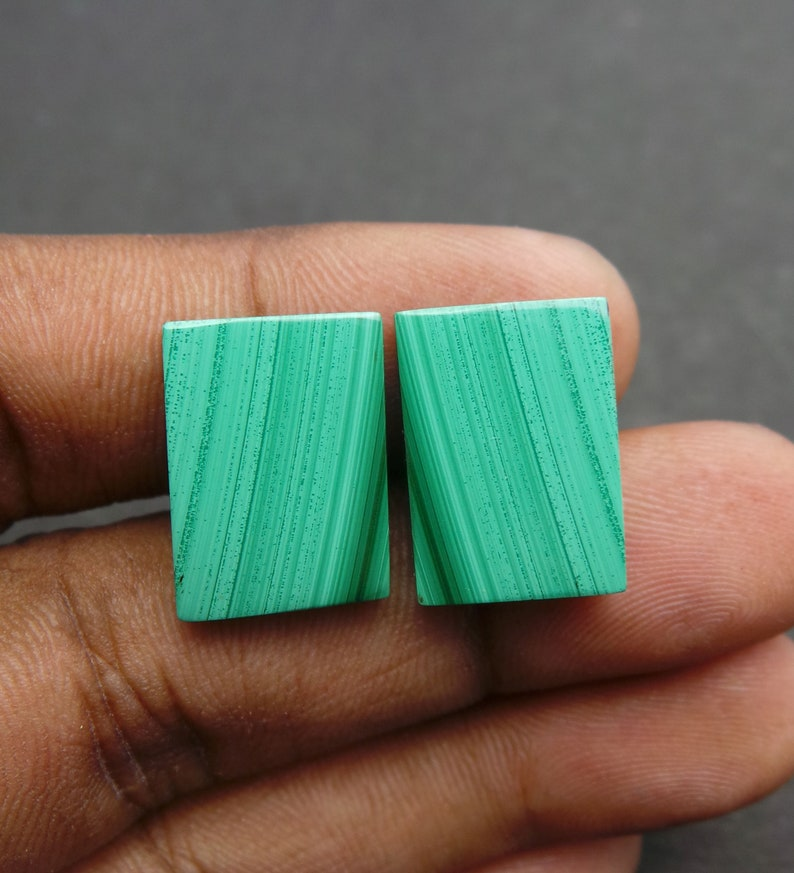 Malachite Gemstone Cabochon-Malachite Cabs-Natural Malachite Smooth Rectangle Cabochon-17.5x13 MM-1 Pair-High Quality-Wholesalegems-BS11170