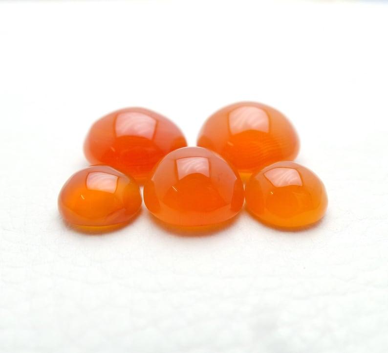 Carnelian Gemstone Cabochon-Carnelian Cabochon-Natural Carnelian Smooth Round Cabochon-10-15 MM-5 Pcs-High Quality-Wholesalegems-BS11440