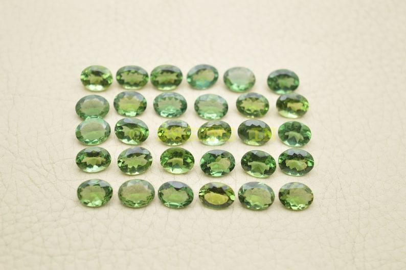 Green Apatite Gemstone Cut Stones-Green Apatite Stones-Natural Green Apatite Faceted Cut Oval Gemstones 8x6 MM-5 Pcs-Wholesalegems-BSW14481