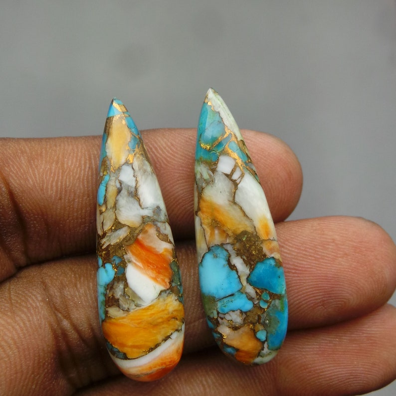 Oyster Copper Turquoise Cabochon-Turquoise Cabochon-Oyster Copper Turquoise Smooth Pear Cabochon-39x11.5 MM-1 Pair-Wholesalegems-BS15215
