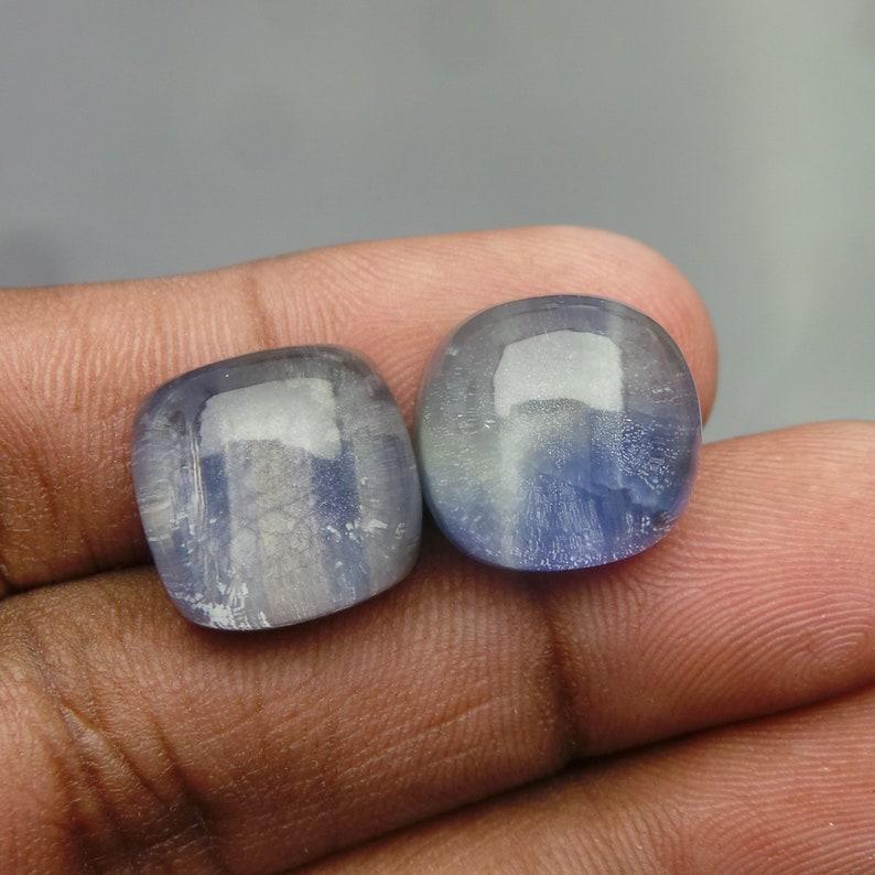 Blue Sapphire Rock Crystal Doublet Cabochon-Sapphire Doublet-Natural Blue Sapphire Crystal Smooth Cushion Cabochon-14.5 MM-2 Pcs-BS16875