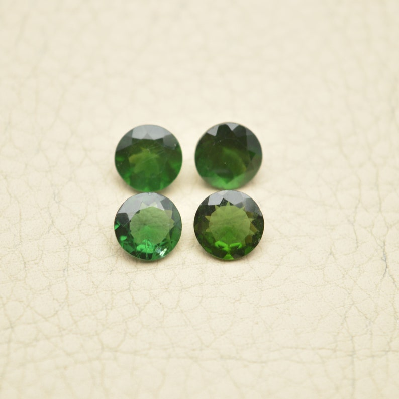 Green Apatite Gemstone Cut Stones-Apatite Stones-Natural Green Apatite Faceted Cut Round Gemstones-6.5-7 MM 4 Pcs-Wholesalegems-BSW14510