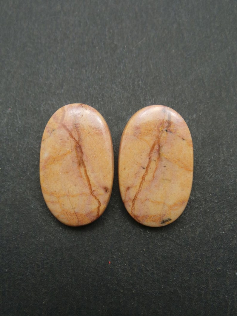 Jasper Oval Cabochon-Jasper Gemstone Cabochons-Natural Jasper Smooth Oval Cabochon-25x15x4 MM-1 Pair-Wholesalegems-BSW9928