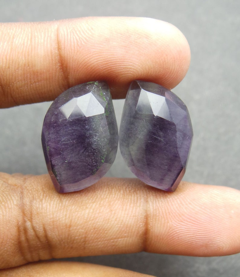 Fluorite Gemstone Cabochon-Fluorite Cabochon-Natural Fluorite One Side Faceted Rose Cut Cushion Cabochon-16x16x5 MM-Wholesalegems-BS9436
