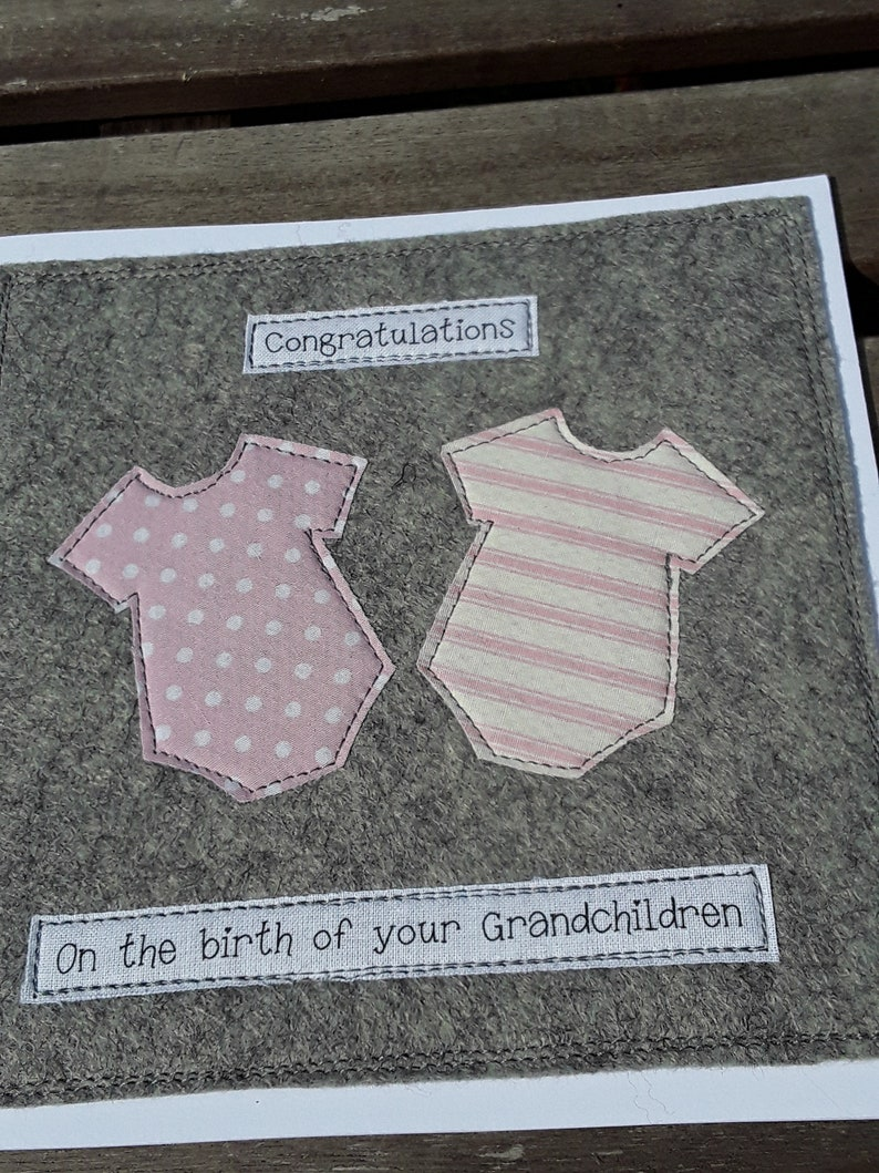 it/'s twins twin girls on the birth of your Grandaughters Fabric card proud grandparents handmade card New Grandparents card