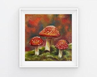 Magic Mushroom Painting, Goblincore Wall Art, Mushroom Gift, Goblincore Decor