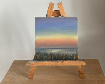 Sunset Lake Painting, Original Landscape, Oil Painting, Sunset Lake Art, Lake Decor For Coffee Table, 6 by 6''