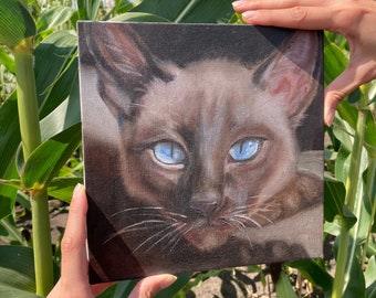 Siamese Cat, Painting of Realistic Cat, Original Cat Portrait Small, 8 by 8''