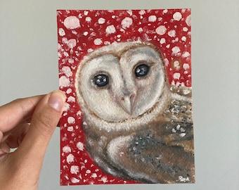 Barn Owl Painting, Original Owl Painting, Bird Art, Wildlife Painting, Owl Artwork, Animal Art
