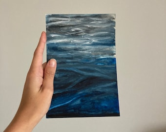 Water Ripple Art, Wave Watercolor, Underwater Painting Original, Ripples Water