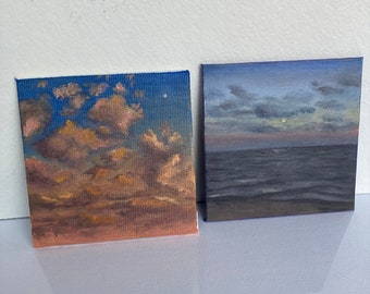 Set of 2 Art Magnets, Small Painting Series, Sky Cloud Oil Painting