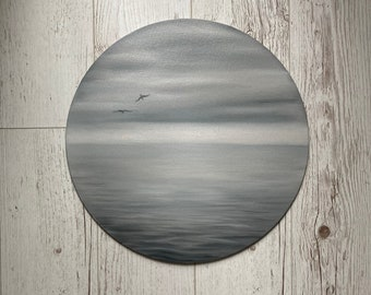 Set Of 3 Random Paintings Of The Sea, Sunset Painting Canvas, Beach Wall Decor, Black And White Art