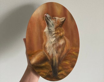 Cute Fox Painting, Realistic Fox Art, Small Oil Painting Original, Red Fox