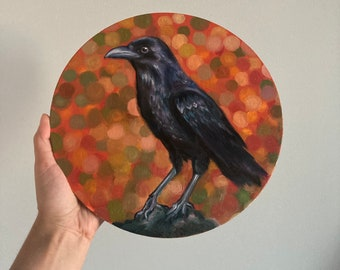 Black Raven Art Original, Realistic Raven, Crow Painting Oil