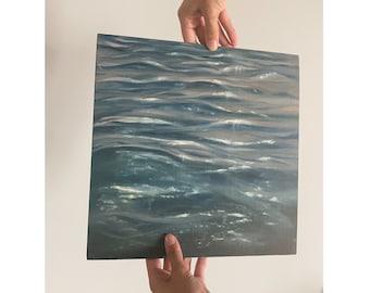 Water Ripple Art, Underwater Painting Original, Ripples Water, Blue Oil painting