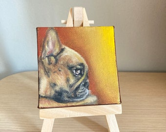 French Bulldog Art, Small Painting on Canvas, Dog Oil Painting Original, Stretched Canvas with Mini Easel