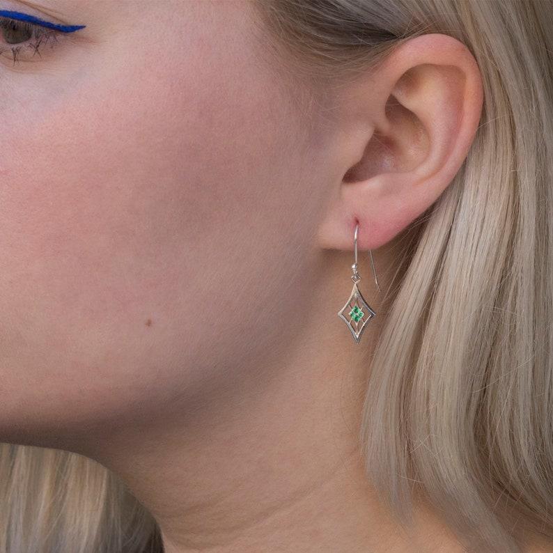 Celtic earrings Green gemstone Celtic Emerald Jewelry Long Green dangle earrings Sterling silver Celtic knot Green Emerald earrings