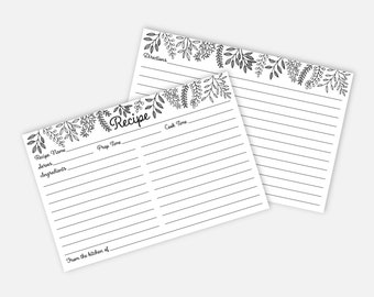 50 Recipe Cards Personalized for Bridal Shower Classic Black