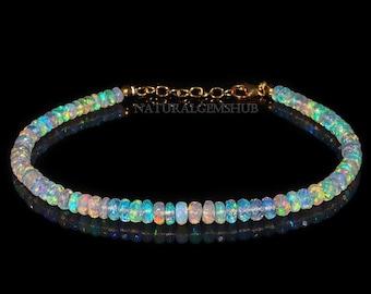 Details about  /Natural Ethiopian Welo Fire Opal Cut Gemstone 925 Solid Silver Tennis Bracelet
