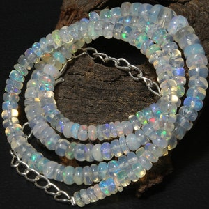 Opal Beads Necklace Gift to her Opal Smooth Rondelle Beads Necklace Multi Fire Opal Beads Opal Necklace Natural Ethiopian Opal beads