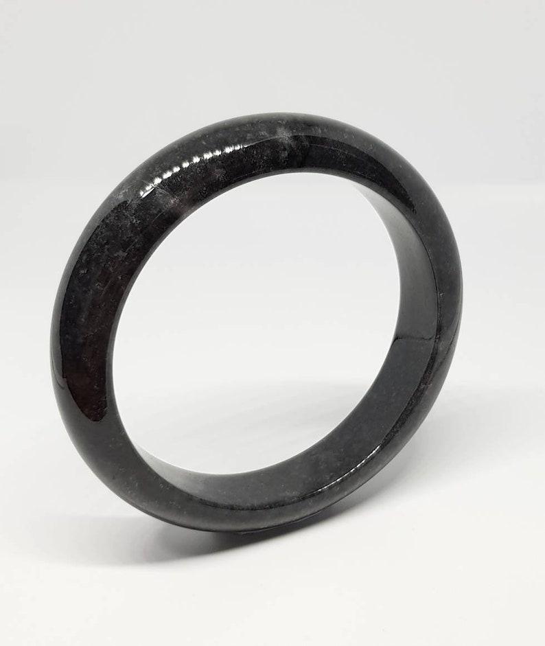 55.6mm Black with specks of Grey Bangle JB55601450102-B Type A Burmese Black Jadeite Bangle