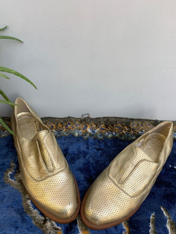 BCBG gold loafers, size 8, gold  shoes, sneakers,