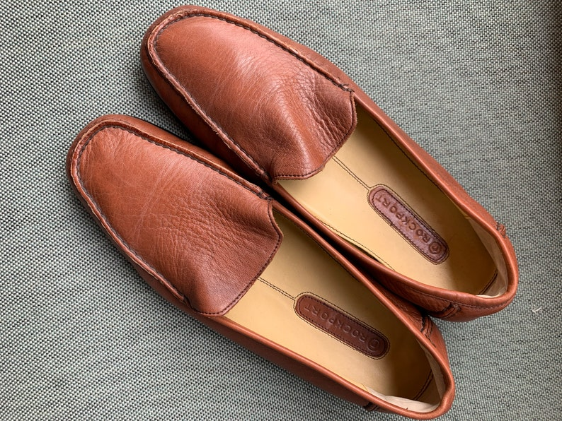 brown leather loafers driving shoes vintage men\u2019s wear Leather shoes Rockport leather moccasins retro,gifts for him