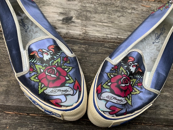 Don Ed hardy shoes, hand-painted shoes, painted ea