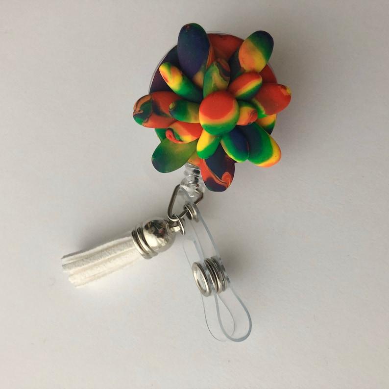 Badge Reel Rainbow Tie-Dye Flower Badge Holder