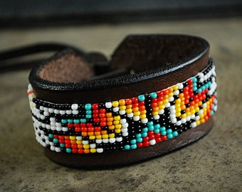 Native Indian Beaded Bracelet Men Women Thunderbird Leather Tribal Southwestern Cuff Peyote jewelry Huichol colorful seed bead bracelet