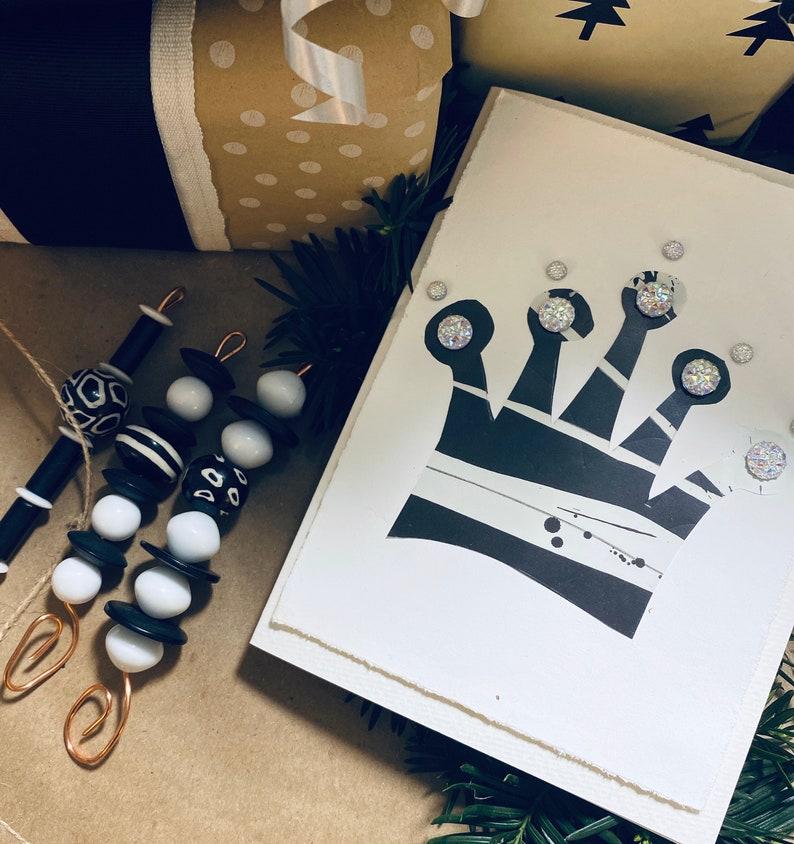 Modern Art Card Special K \u2022 one of a kind \u2022 hand painted \u2022 glorious Christmas crown sparkles on a handmade modern Christmas card
