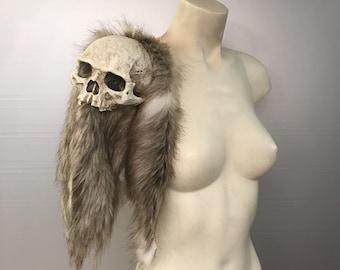 Medieval Viking skull fur shoulder