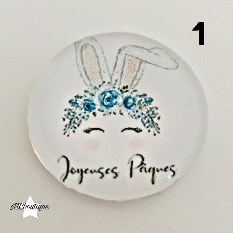 2 Easter cabochons 12mm glass
