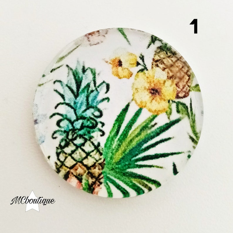 2 pineapple toucan Flowers 12mm glass cabochons