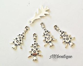 5 Christmas tree charms 25mm silver metal