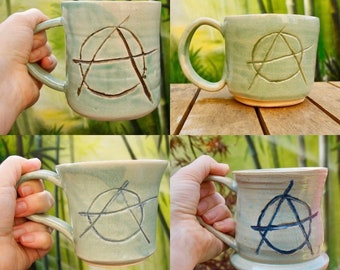 Pre order/Made to order anarchtea anarchy pottery ceramic mug-please allow 6 weeks-proceeds to suicide prevention bristol