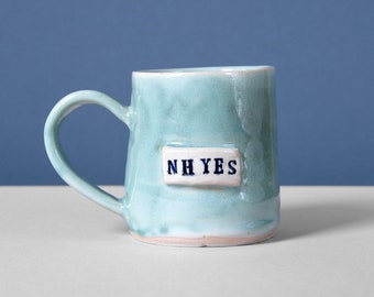 Pre order/made to order NH Yes ceramic pottery blue mug