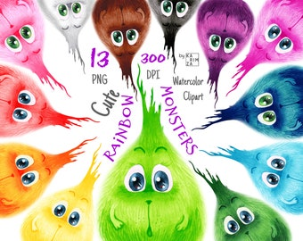 Rainbow Baby Shower invitation clipart, Cute monster clipart